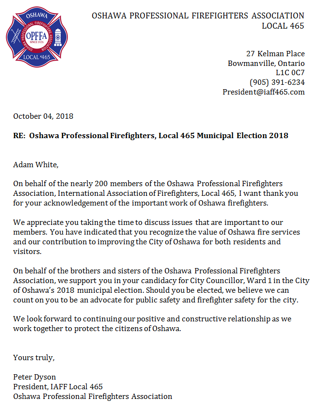 ofppa local 465 endorsement